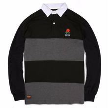 BUTTER GOODS  ROSE L/S POLO    BLACK/GREY