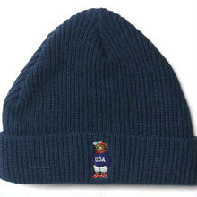 INTERBREED BEAR EMBROIDERED BEANIE NAVY