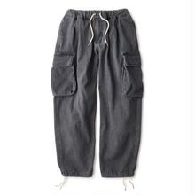 INTERBREED WASHED DENIM RELAX CARGO TROUSER  BLACK