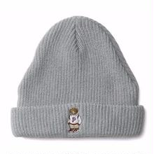 INTERBREED BEAR EMBROIDERED BEANIE  GREY