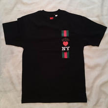 AM after midnight nyc am Heart NY - Red/Green Stripes Pocket Tee