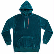 WAYWARD WHEELS  LE MANS VELOUR PULL OVER HOODIE       DARK TEAL