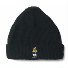 INTERBREED BEAR EMBROIDERED BEANIE  BLACK