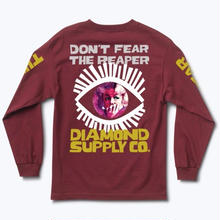 DIAMOND SUPPLY CO REAPER L/S TEE  BURGUNDY
