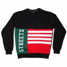 STREET X  FLAG CREWNECK       BLACK/RED