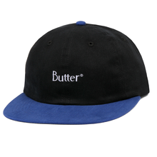 BUTTER GOODS 2-TONE BRUSHED 6 PANEL CAP     BLACK / ROYAL