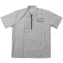 PEELS HALF ZIP WORK S/S  SHIRT STRIPE