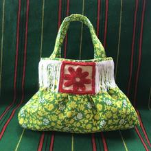 fluffy bag yellow green flower