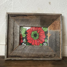 vintage fabric frame red  flower