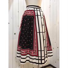 1950s vintage モノトーン 花柄 スカート/古着 ビンテージ