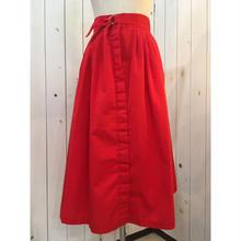 1970s〜 vintage フロントボタン 赤 ベルトデザイン レトロ スカート/古着 ビンテージ