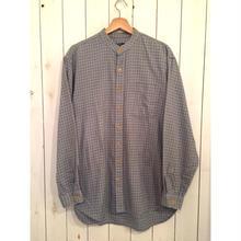 Vintage ユーロ ノーカラー チェックシャツ/古着 ビンテージ グランパ