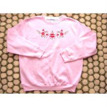 ピンク お花刺繍 スウェット/古着 ビンテージ