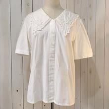 ホワイト レース襟 半袖 コットン ブラウス/古着 ビンテージ