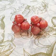 JAPAN製 vintage ピンク系 ビーズ トライアングル イヤリング/古着 ビンテージ