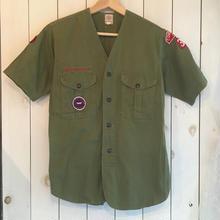 60s vintage ボーイスカウト ノーカラー 半袖 シャツ/古着 ビンテージ