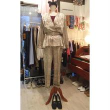 80s シャンパンゴールド 花柄 ペプラムデザイン ジャンプスーツ/古着 ビンテージ