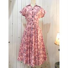 1950s vintage ピンク ペイズリー柄 シャツデザイン ワンピース/古着 ビンテージ