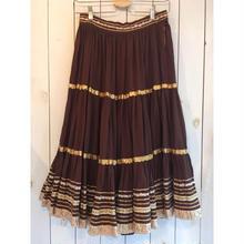 50s〜 vintage ブラウン ラメリボンテープ メキシカンスカート/古着 ビンテージ