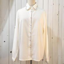 ホワイト 刺繍デザイン 長袖 ブラウス/古着 ビンテージ