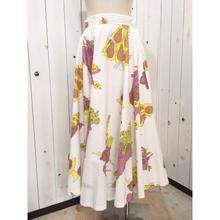 Vintage  50s チュール付き 花束×フルーツ柄 コットン サーキュラー スカート/古着 ビンテージ