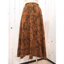 USA製 ブラウン系 ゴブラン織り風 花柄スカート/古着 ビンテージ