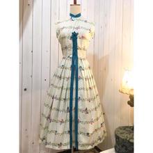 1950s vintage ライトグリーン バタフライ 蝶々柄 ノースリーブ ワンピース/古着 ビンテージ