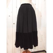 Vintage 40s~50s 黒 シフォン×ベロア スカート/古着 ビンテージ