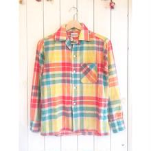 ~60s オープンカラー チェックシャツ/古着 ビンテージ