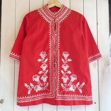 赤 オリエンタル 刺繍 シャツ/古着 ビンテージ