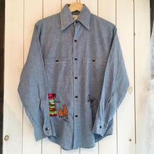 70s〜 vintage 刺繍 シャンブレー シャツ/古着 ビンテージ