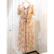 1970s vintage  ピンクベージュ系 くすみカラー 花柄 ワンピース/古着 ビンテージ