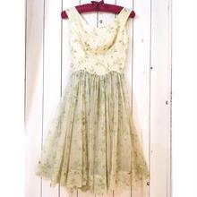 1950s vintage アイボリー×ライトグリーン 花柄 シフォン シアー ワンピース/古着 ビンテージ