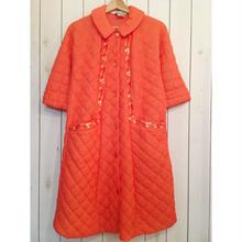 1970s vintage  コーラルオレンジ 刺繍 キルティング ロング ジャケット/古着 ビンテージ