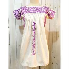 1970s~ vintage ホワイト×ラベンダー 単色 サンアントニーノ刺繍 チュニック/古着 ビンテージ