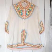 パステルカラー 刺繍 シャツ ジャケット/古着 ビンテージ