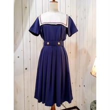 1950s vintage ネイビー セーラー襟 ワンピース/古着 ビンテージ