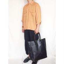Vintage 1950's~60's オレンジ ボックスシルエット 長袖レーヨンシャツ / 古着 ビンテージ
