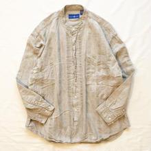 リネンコットン ストライプ柄 バンドカラーシャツ / 古着 ビンテージ
