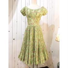 1950s vintage ライトグリーン×ピンク 薔薇柄 パニエ付き ワンピース/古着 ビンテージ