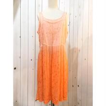 グラデーション オレンジ  刺繍 キャミソール ワンピース/古着 ビンテージ