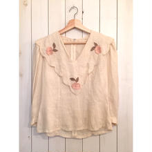 Vintage 70s~ お花パッチワーク×レース 大きな襟 長袖 ブラウス /古着 ビンテージ