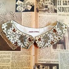 vintage インド製 ザリ刺繍 オフホワイト つけ襟/古着 ビンテージ