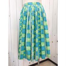 Vintage 50s ブルー×グリーン コットン ハンドペイント風 総柄 スカート/古着 ビンテージ