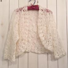 vintage かぎ針編み お花模様 ホワイト ボレロ カーディガン/古着 ビンテージ