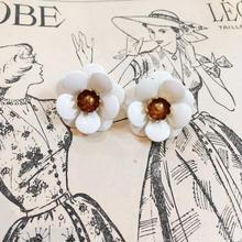 1960s vintage Sarah coventry ホワイト×ゴールド フラワーモチーフ イヤリング/古着 ビンテージ