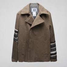 袖切り替えウールコート
