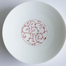 和モダン  19㎝皿   唐草    赤