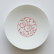 和モダン 15㎝皿 赤 唐草