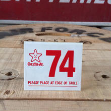 CARLS JR ORDER NUMBER PLATE